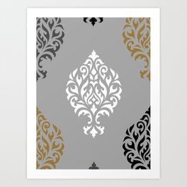 Orna Damask Ptn BW Grays Gold Art Print