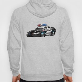 Police Muscle Car Cartoon Illustration Hoody