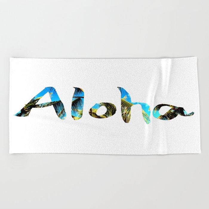 Palm Tree And Blue Sky Aloha Beach Towel