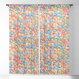 Sweet & Sour Pastel Candy Tarts Pattern Sheer Curtain