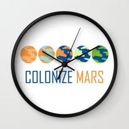 Colonize Mars Art Wall Clock