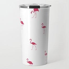 Pink Flamingo Silhouette Pattern Travel Mug