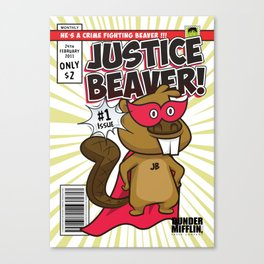 The Office Poster - Justice Beaver Superhero Comic Canvas Print