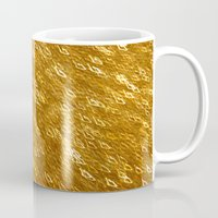 gold glitter Mugs featuring Gold Glitter 1324 by Cecilie Karoline