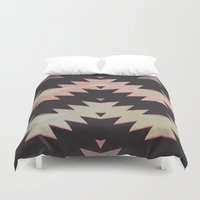 navajo Duvet Covers featuring navajo triangles by spinL