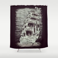 pirate ship Shower Curtains featuring Caleuche Ghost Pirate Ship Variant by Roberto Jaras Lira