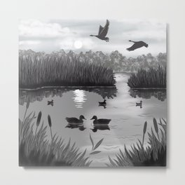 The Pond Black and White Metal Print