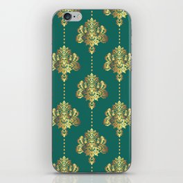 Gold damask flowers and pearls on teal background iPhone Skin