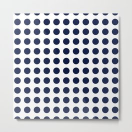 Simply Polka Dots in Nautical Navy Blue Metal Print