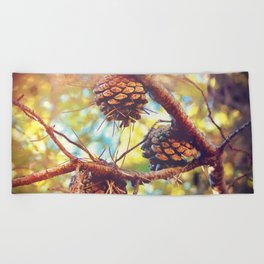 Autumn pine cones  #photography Beach Towel