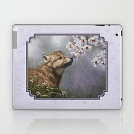 Wolf Pup and Spring Blossoms Laptop & iPad Skin