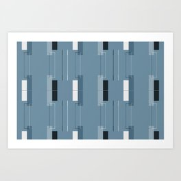 White Hairline Blue Squares Art Print