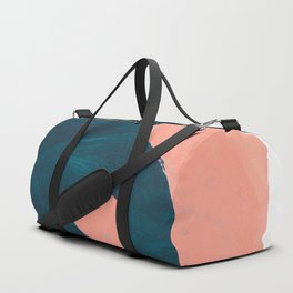Minimalist Abstract Colorful Mid Century Modern Art Painting Teal Blue Salmon Pink Blobs Duffle Bag