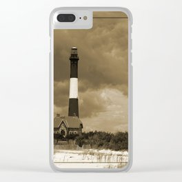 Fire Island Light In Sepia Clear iPhone Case