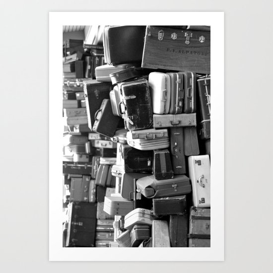 TOWER OF LUGGAGE in Black & White Art Print