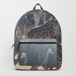 Giraffe National Park // Spotted Long Neck Graceful Creatures in Wildlife Preserve Backpack