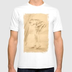 Erotic - Girl in lingerie White Mens Fitted Tee MEDIUM