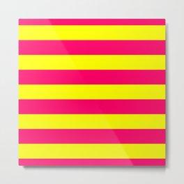 Bright Neon Pink and Yellow Horizontal Cabana Tent Stripes Metal Print