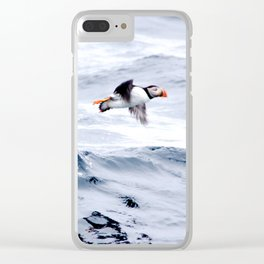 Puffin Flying Clear iPhone Case
