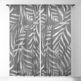 Silver Tropical Palm Leaves Ferns Trendy Black Marble II Sheer Curtain