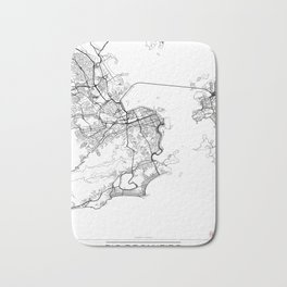 Rio de Janeiro Map White Bath Mat