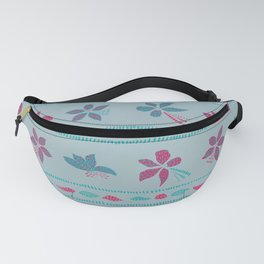 Pink and blue flowers II Fanny Pack