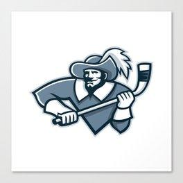 Musketeer Ice Hockey Mascot Canvas Print
