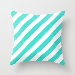 Diagonal Stripes (Turquoise/White) Throw Pillow