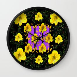 BLACK ART  YELLOW AMARYLLIS FLOWERS BUTTERFLY FLORAL Wall Clock