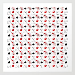 Black White Red Magic Magician Card Pattern Art Print
