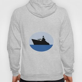 World War Two Battleship Destroyer Oval Retro Hoody