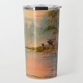 Elk Beside A misty River Travel Mug