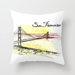 San Francisco. Watercolor and ink. Throw Pillow