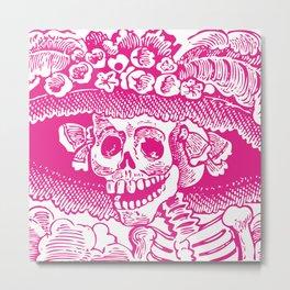 Calavera Catrina | Pink and White Metal Print