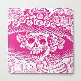 Calavera Catrina | Skeleton Woman | Pink and White | Metal Print