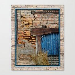 OLD BRICK WALL AND BLUE TARP WINDOW BHAKTAPUR NEPAL Canvas Print