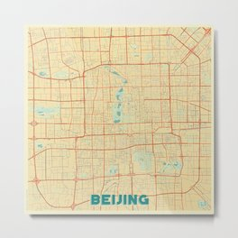 Beijing Map Retro Metal Print