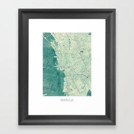Manila Map Blue Vintage Framed Art Print