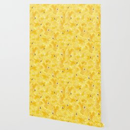 Meant to Bee - Honey Bees Pattern Wallpaper