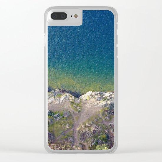 ocean rock green blue Clear iPhone Case