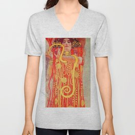 "Gustav Klimt ""University of Vienna Ceiling Paintings (Medicine), detail showing Hygieia"" Unisex V-Neck"