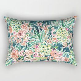 PINEAPPLE PARTY Lush Tropical Boho Floral Rectangular Pillow