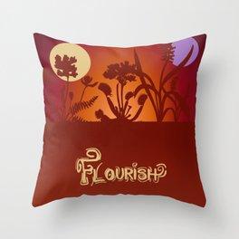 Flourish - Autumn Sunset Typography Throw Pillow