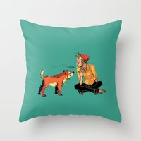 musa Throw Pillows featuring pet the dog by musa