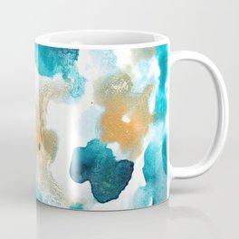 Aqua Teal Gold Abstract Painting #2 #ink #decor #art #society6 Coffee Mug