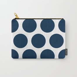 Large Polka Dots: Navy Blue Carry-All Pouch