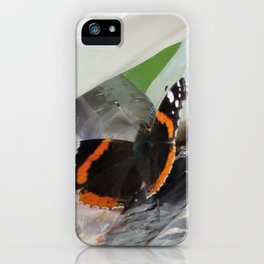 Red Admiral on a White Bird of Paradise Bloom iPhone Case