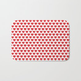 Pixelated Red Hearts Bath Mat