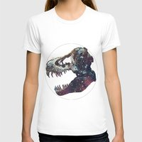 trex T-shirts featuring Galaxy trex by Fallen amongst the wolves