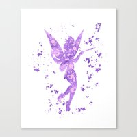tinker bell Canvas Prints featuring Tinker Bell Disneys by Carma Zoe